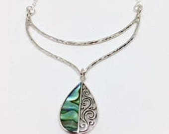 Abalone Pendant - Abalone Necklace - Abalone Jewelry - Sterling Necklace - Beach Jewelry - statement necklace - Beach Wear - Abalone Dream