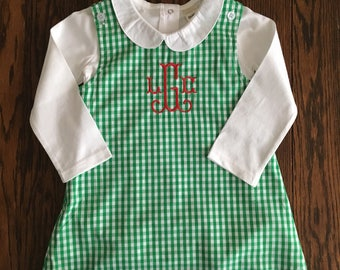 Red or Green Gingham Jumper/ Baby Girl Jumper/ Toddler Jumper/ Girl Christmas Outfit