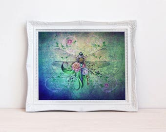 vintage style shabby colorful dragonfly art print