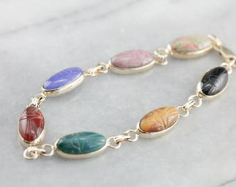 Vintage Scarab Beetle Bracelet, Retro Era Jewelry, Egyptian Revival, Multi Gemstone Bracelet, Carved Cabochon Bracelet NUY35E-D