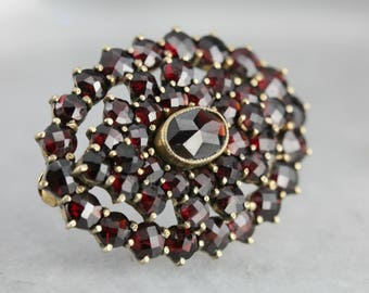 Antique Czech Garnet Cluster Brooch, Estate Costume Jewelry E5KHZD-N