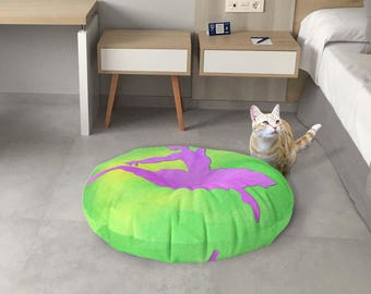 Green and purple floor cushion, Dancer floor pillow, Decorative floor seating, Meditation pouf, Round pillow, Boho dorm decor, Fap119R
