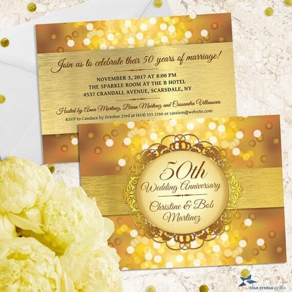 Metallic Bokeh Golden 50th Wedding Anniversary Party Invitation