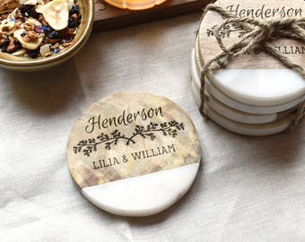 Marble and Wood Personalized Coasters. Drink Coaster Set Couples Gift.