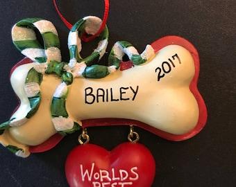 Dog Personalized Christmas Ornament / World's Best Dog / Dog Bone Ornaments