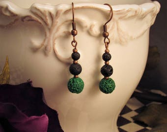 Black And Green Lava Bead Earrings - Wicked Willow Grove Jewelry Collection