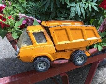 Vintage Orange Tonka Dump Truck, 1960's 1970's Toy,  Succulent Herb Fairy Garden Planter, Rustic Upcycle