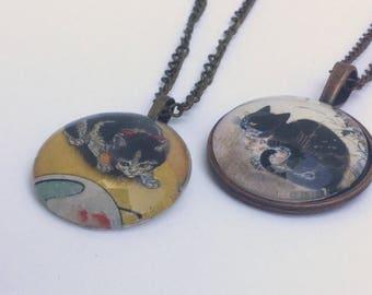 Vintage Cat Necklace - Antique Cat Necklace -  Classic Cat Necklace - Vintage Cat Pendant  - Classic Cat Pendant - Steampunk Necklace