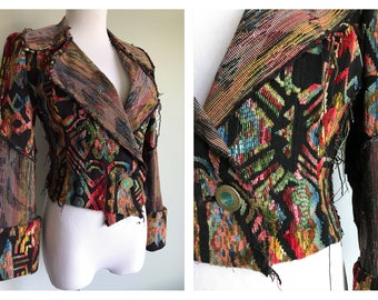 Women's Vintage Carpet Bag Tapestry Blazer Jacket Woven Embroidered Avant Garde Handmade Pirate Costume Beaded Raw Boho Size Small Medium