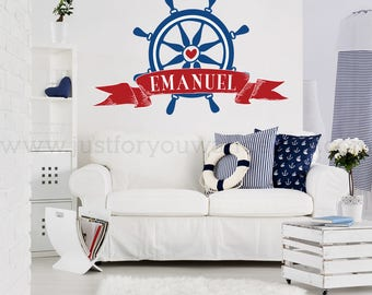 Nautical Wall Decal - Nursery Wall Decal - Children's Wall Art Decal - Personalized Monogram - Nautical Wall Decal - Nursery Decor 02-0012