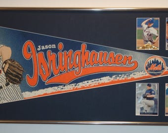 Vintage NY Mets Jason Isringhausen Player Pennant & Cards...Custom Framed!!!!