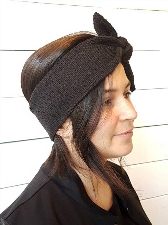 L'APRÈS-SKI - retro headband with knot for women - black