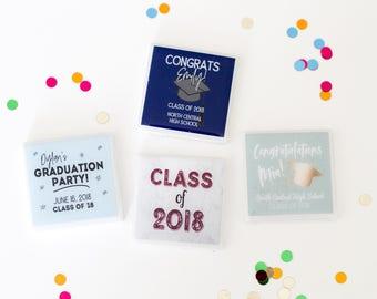 Graduation party favors, grad party favor magnets, high school graduation favors, personalized party favors, custom party favors for guests