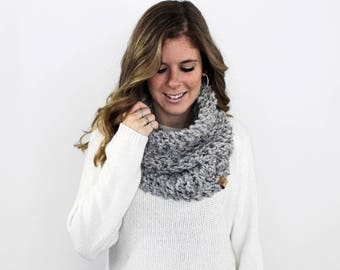 Knit Cowl Scarf Chunky Grey Marble- Calvert Cowl