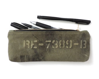 Military Pencil Case Zipper Pencil Pouch Recycled WWII Canvas