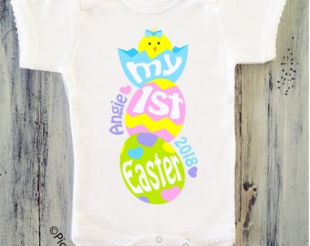 Baby Girl My First Easter Onesie Personalized Easter Bodysuit for Babys First Easter Newborn Girl First Easter Onesie Baby Girls 1st Easter