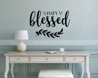 Simply Blessed Wall Decal Rustic Blessed Decal Rustic Handwritten Decal Thanksgiving Vinyl Decor Decal Thanksgiving Decor Rustic
