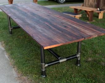 10 Foot Long Industrial Table Barn Wood Top Modern Black Steel Pipe Legs  FREE SHIPPING