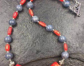 Red and Blue Coral Necklace