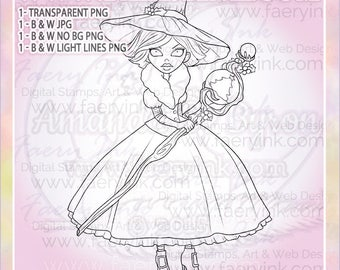 The Christmas Witch UNCOLORED Digital Stamp Image Adult Coloring Page jpeg png jpg Craft Cardmaking Papercrafting DIY