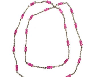 Necklace. Layer. Pink. Silver. 34 Inches.