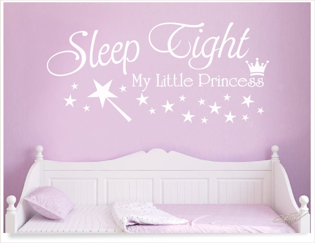 Sleep tight princess wall decal baby girl nursery sticker zoom amipublicfo Image collections