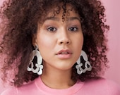 Statement silver leather abstract shapes earrings