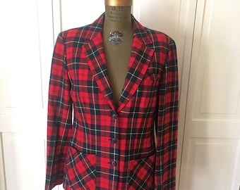 Free shipping Iconic Pendleton Plaid Blazer from the 70s vintage womens