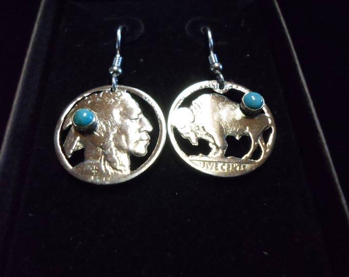 Indian head and buffalo nickel earrings w/turquoise