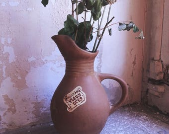 Pitcher vase Brown decoration stoneware crock rustic authentic rustic rural country minimalist Bohemian folk tradition boho retro country