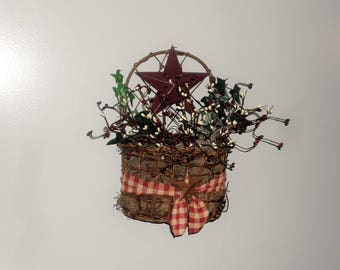 Handmade Primitive Grapevine Basket, Primitive Red and Ivory Pip Berries, Burgundy Star, Primitive Wall Decor