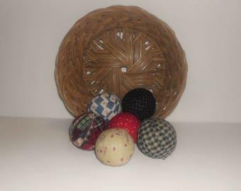 "6 Primitive  Rag Balls, 2 1/4"" diameter Homespun Fabric and prim Material Wrapped Primitive Decor, Bowl Filler PD5062"