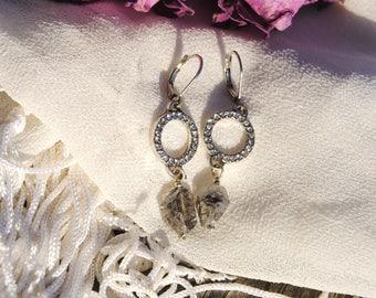 Sparkling Herkimer Diamond Ring Earrings