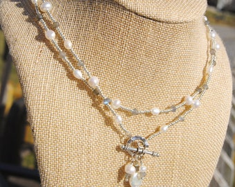 Pearl and Labradorite Wrap Necklace