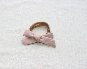 Hand Tied Bow in Cotton/Linen Dusty Rose