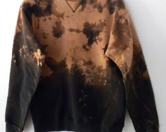 Black tie dye Sweatshirt, acid wash sweatshirt, dip dyed, crewneck sweatshirt, jumper, Sweater, Grunge. retro, tie dye, rocker, graphic