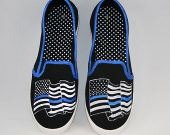 BLUE LIVES MATTER Hand Painted Shoes, American Flag Shoes, Baby/Toddler, Child/Youth, and Women Sizes, Thin Blue Line Shoes