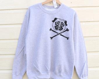 Pug Crossbones Sweatshirt, Pug Sweater, Pug Jumper, Pug Clothing, Pug Life, Pug Print Sweatshirt, Womens Pug Sweatshirt