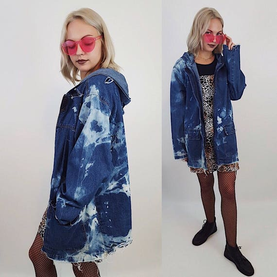 90s Vintage Hand Bleached Denim Jacket Small Medium Large Tie Dye Bleach Jean Layer - Dark Blue Tiedye Jacket - Hooded Frayed Fall Jean Coat
