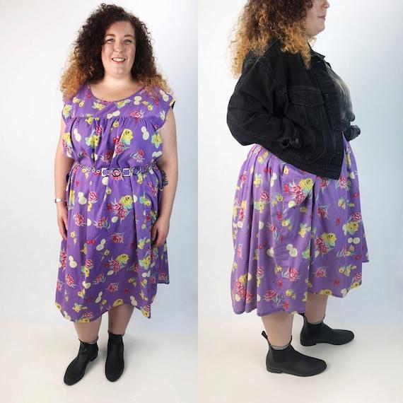 80's Fruit Print Floral Muu Muu Dress 6XL Plus - Pastel Oversized Sundress Midi Tent Dress With Pockets - Lilac Purple Cherrys Lemons Fruity
