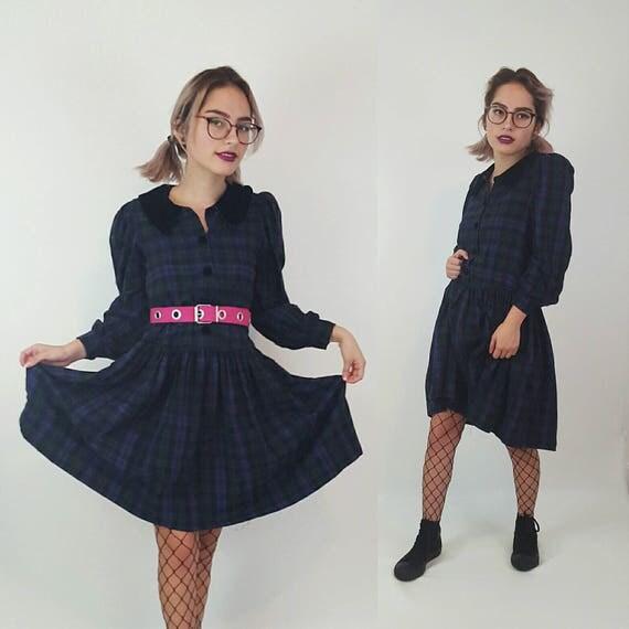 90s Vintage Plaid Babydoll Dress Extra Small - Long Sleeve Purple Babydoll Mini Dress - Comfy Cotton Drop Waist Dress with Velvet Collar XS