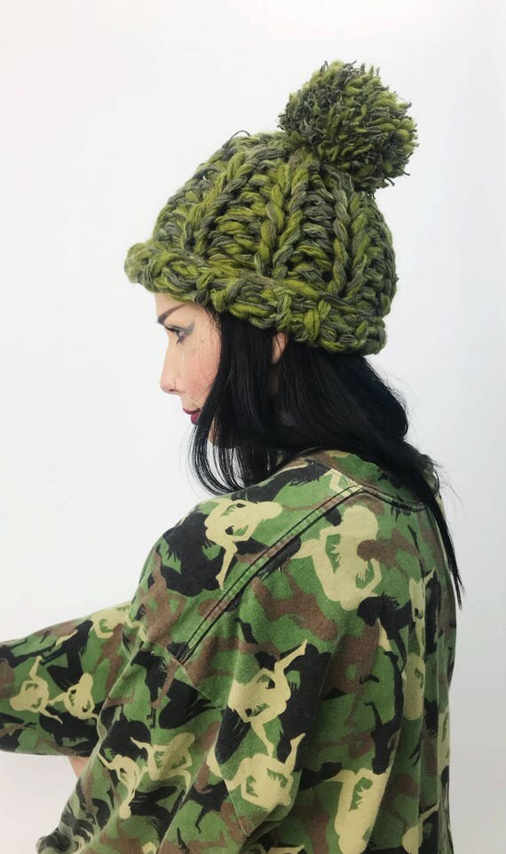 Hand Knit Olive Green PomPom Slouchy Hat - Boho Hipster Fashion Style Unique Womens Accessory Soft Warm Winter Fall Upcycled Yarn Beanie