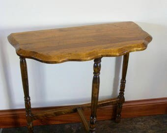 Vintage Half Moon Side Table  3 Legged Table  Oak Top  Small Wood Table