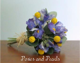 "Indigo Blue Iris and Yellow Craspedia Silk Flower Bouquet, Seeded Eucalyptus Greenery and Raffia Wrap, Bridal or Bridesmaid, ""Vera"""