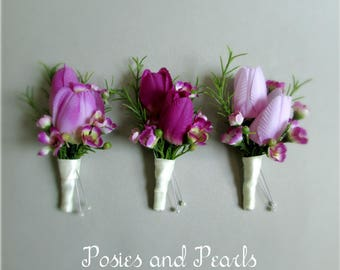 """Shades of Purple Silk Tulip Boutonnieres, Double Tulip Boutonniere with Waxflower, Plum, Lilac, Lavender, Spring, Summer Wedding, """"Wish"""""""