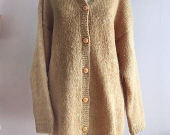 Vintage Mustard Yellow Oversized Mohair Cardigan Sweater by Lord and Taylor from the 1980s Size Large