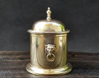 Brass Container - Lion Handles - Lidded Gold Ice Bucket Jar - Trinket Box - Vintage Mid Century