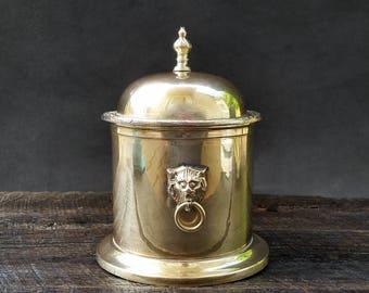 Brass Container - Lion Handles - Lidded Gold Ice Bucket Jar - Trinket Box - Vintage Mid Century