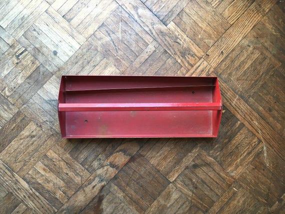 Vintage Red Metal Tool Caddy, Red Toolbox, Metal Tool Box Tool Tote, Industrial Decorative Storage