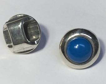 1 Turquoise Howlite Half Round Slider,  bracelet finding, jewelry supply, gemstone, bead, metal, 10x5mm